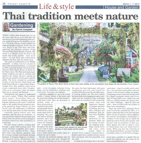 Phuket Gazzette, Life & Style, Thai tradition meets nature , Thavorn Palm Beach Resort Phuket