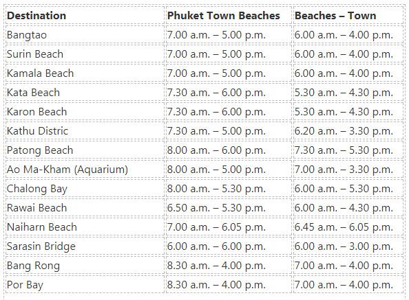 Phuket Bust Timetable